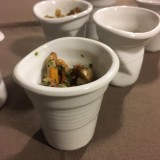 Verrine champignons d'automne et espuma au Mont-d'Or
