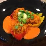 Fleur de carottes-raves sauce poivrons